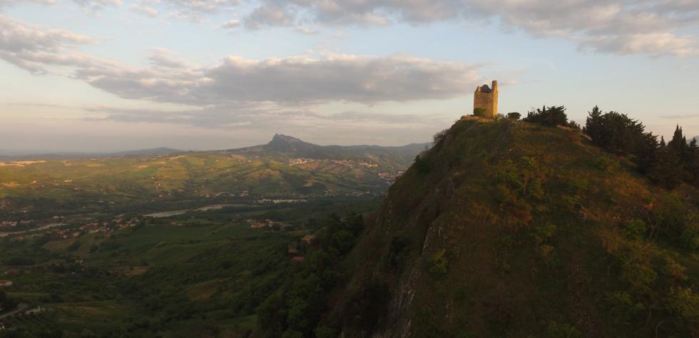watchtower of Castello Due Torri in Valmarecchia