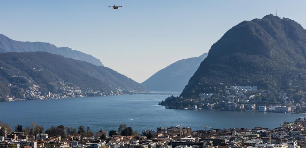 drone fattorino nei cieli di Lugano